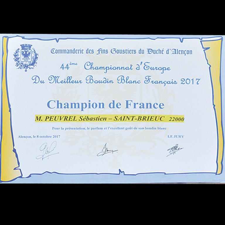 Au Fil du couteau est Champion de France pour son Boudin blanc