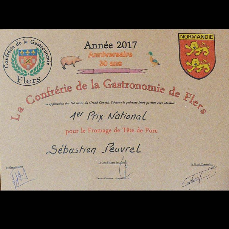 Au Fil du Couteau a reçu le 1er prix National pour son Fromage de tête7