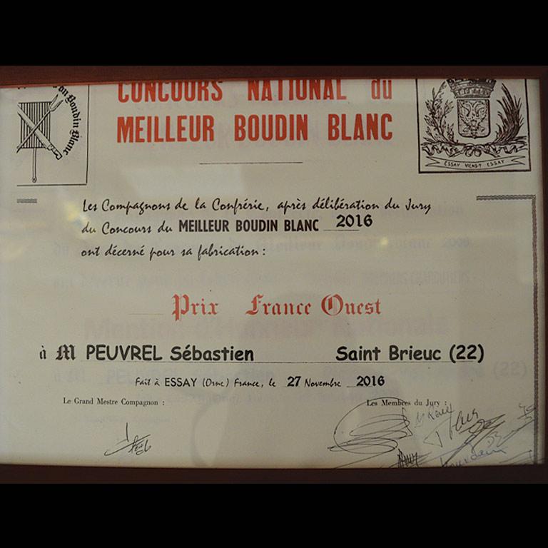 Au Fil du Couteau a reçu le Prix France Ouest pour son Boudin Blanc