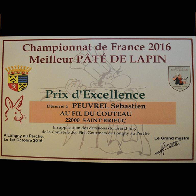 Au Fil du couteau - Prix d'Excellence pour son pâté de Lapin