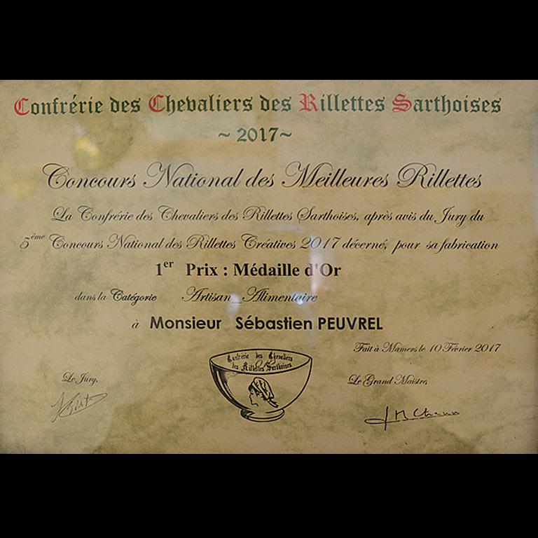 Au Fil du Couteau a reçu le 1er Prix et la Médaille d'or pour ses Rillettes de Poulet au Citron
