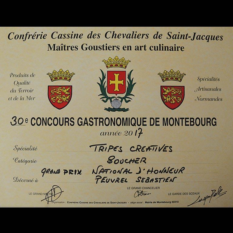 Au Fil du Couteau a reçu le Grand Prix National d'honneur pour ses Tripes Créatives