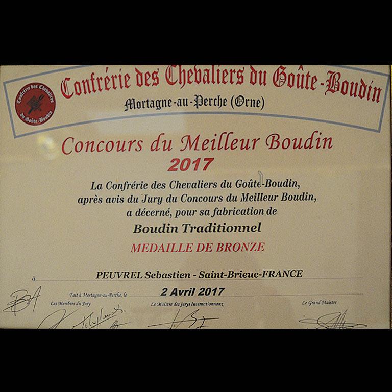 Au Fil du Couteau a reçu la Médaille de Bronze pour son Boudin Traditionnel