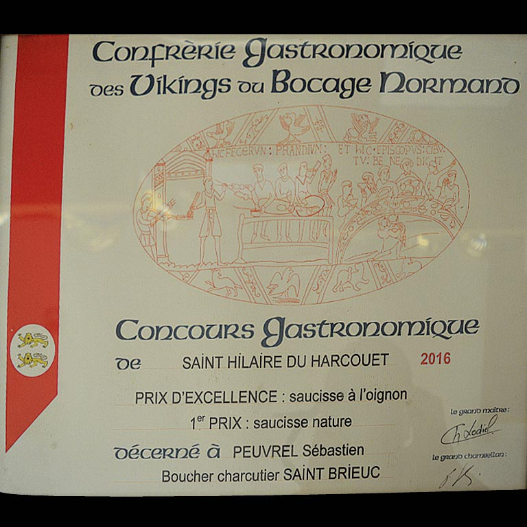 Prix d'excellence Au fil du Couteau pour ses Saucisses à l'oignon