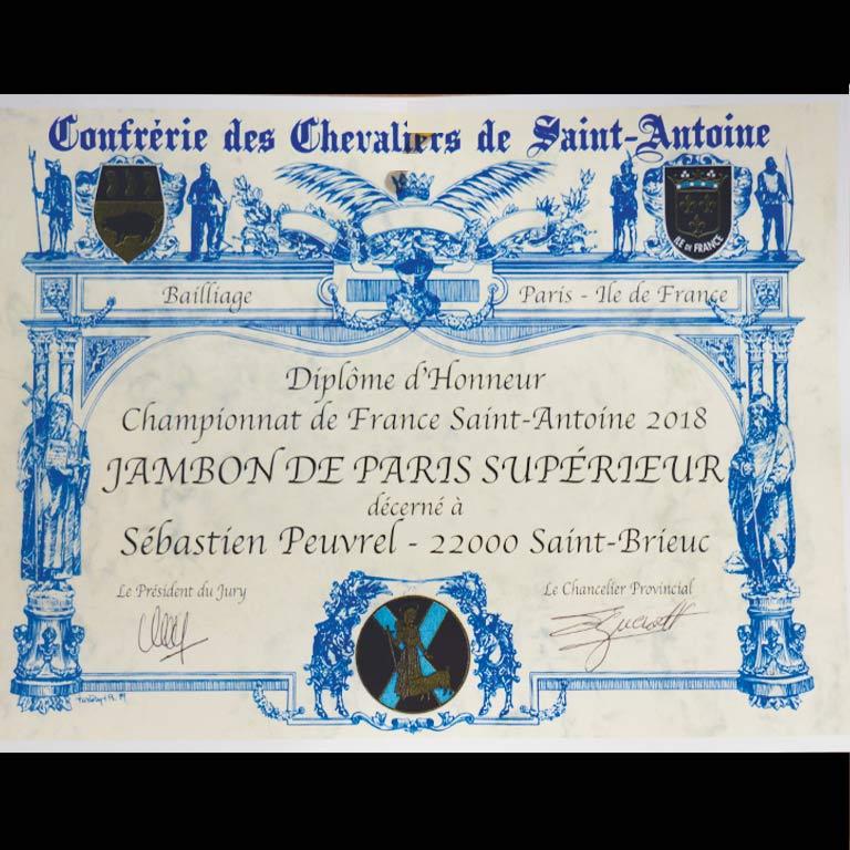 Au Fil du Couteau a reçu un diplôme d'honneur pour son jambon de Paris supérieur