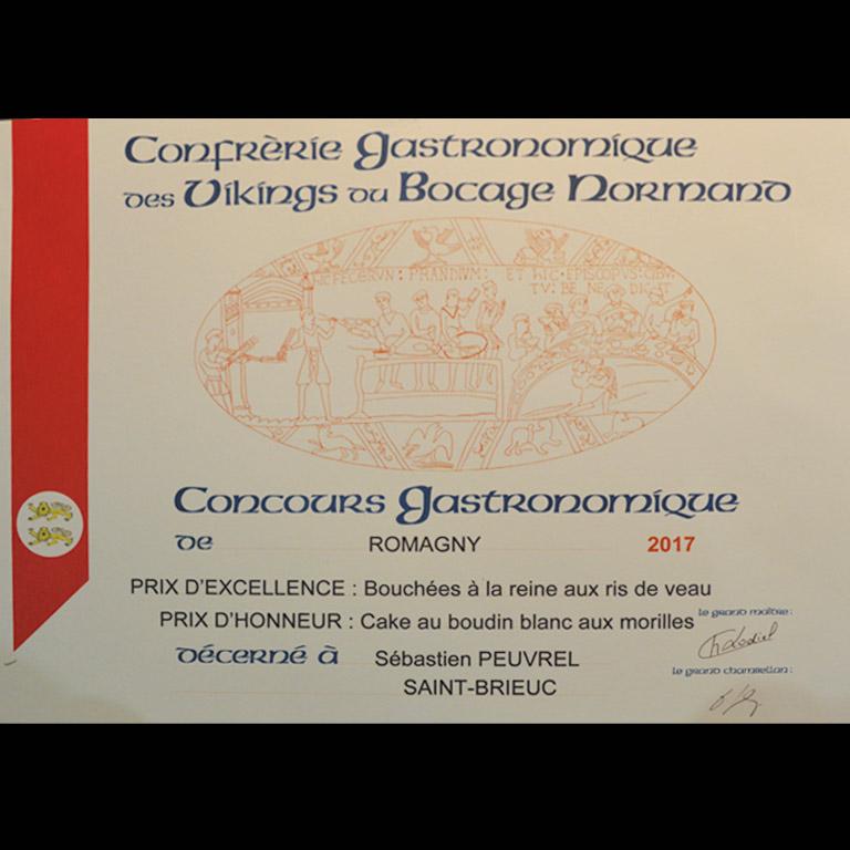 Au Fil du Couteau a reçu un Prix d'Excellence pour ses Bouchées à la reine au ris de veau
