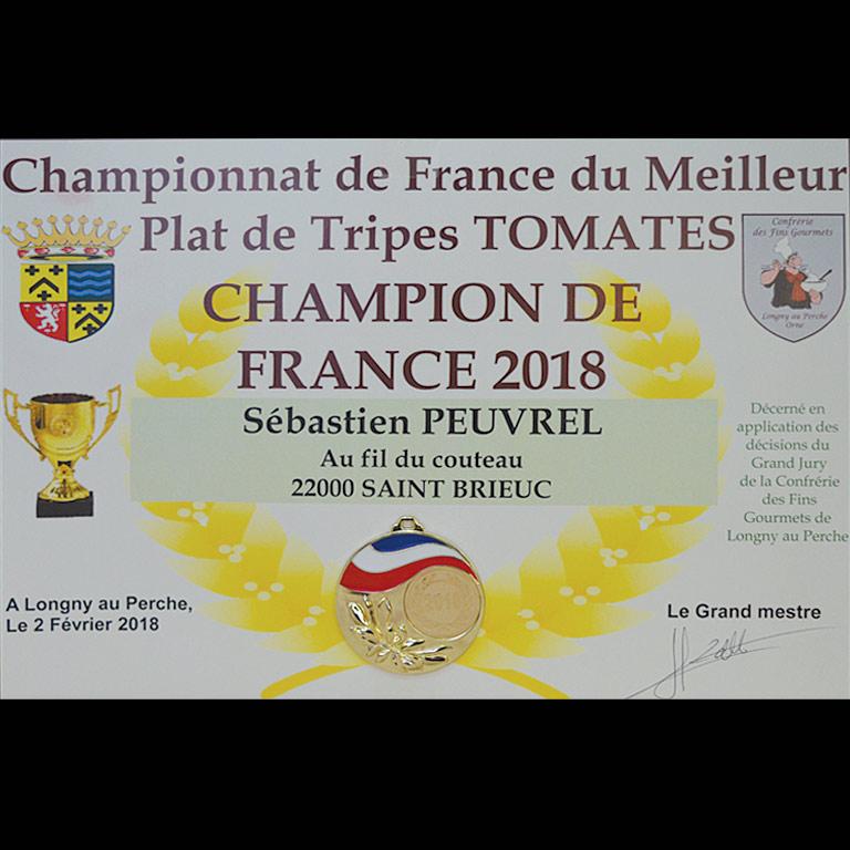 u Fil du Couteau est champion de France pour ses Tripes à la tomates