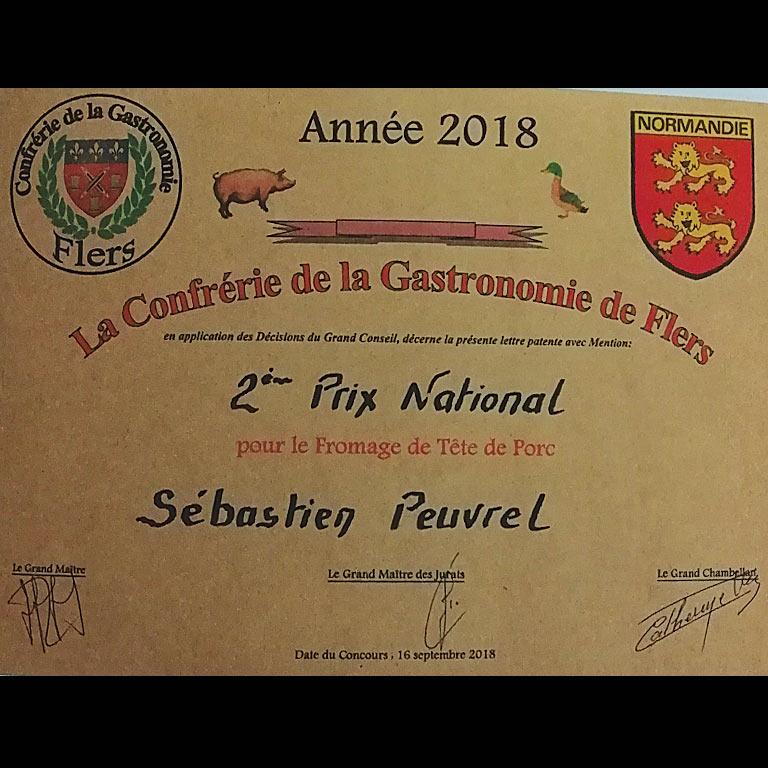Au Fil du Couteau a reçu le 2ème Prix national pour son fromage de tête de porc